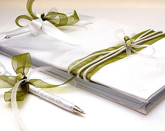 Wedding Guest Book - White-Green, Romantic  Weddings