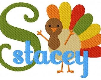 Turkey // 5x7 // Thanksgiving // Machine Embroidery Monogram Font Design Set, Machine Embroidery Design // Joyful Stitches