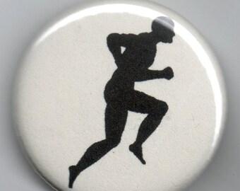 Marathon Man Sillhouette  1.25 inch Pin back BUTTON Vintage Image