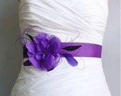 Purple Bridal Sash Belt, Wedding Sash, Bridal Accessories, Feather Fascinator, Handmade Fabric Flower Sash with Feathers