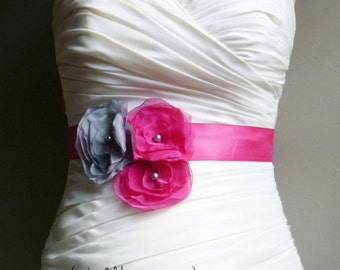 Wedding Sash Belt BREANNA - Fuchsia pink and Gray on Fuchsia
