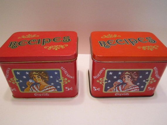 Coca Cola Recipe Boxes Tins Collectible Pair