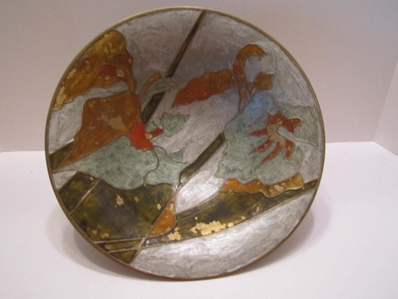Brass Bowl with Enameled Art Made in India Mid Century