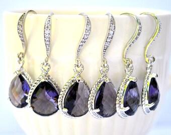 Bridesmaid Purple amethyst Earrings Briolette Framed Glass Rhinestone, Set of 2, 3, 4, 5, 6, 7, 8, 9, 10, 11, 12 Dangle