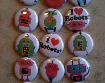 "Robot Buttons - Set of  20 - Pin Back, Flat Back, or Hollow Back Buttons - 1"" Buttons - Party Favors - I love Robots - Birthday Party Favors"