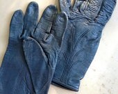 vintage leather gloves - deep navy 1980s motorcycle gloves