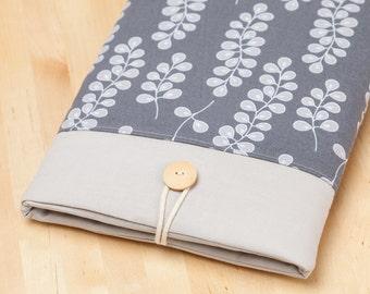 iPad Air sleeve, iPad cover, iPad air case, iPad Pro cover, padded  - grey flowers with pockets -