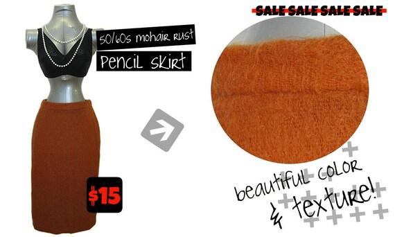 50/60s High Waisted Mohair Pencil Skirt