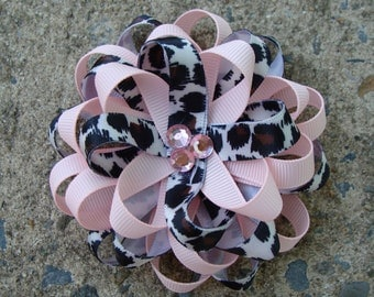 Light Pink with animal print loopy hair bow