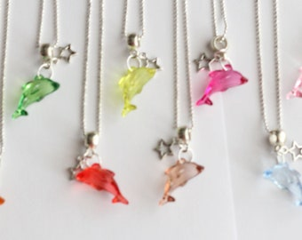 Dolphin Silver Necklace Star 10 Charm Party Favor  Mixed Colors Necklaces