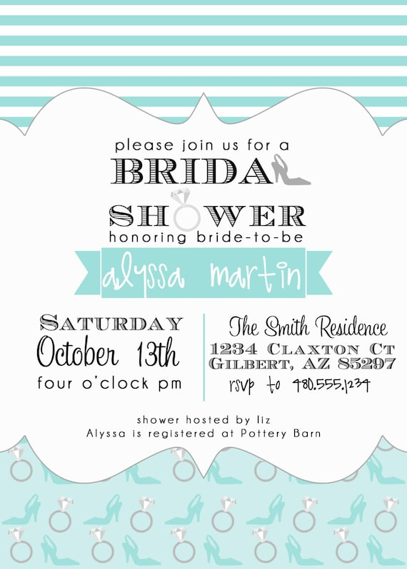 PARTY PRINTABLE - Diamond Ring/Stiletto High Heel Bridal Shower Invitation - Petite Party Studio