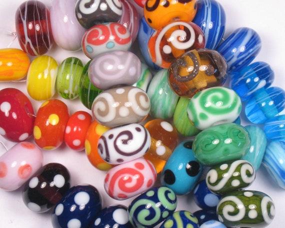 Orphan Lot of Lampwork 52 Lampwork Glass Handmade SRA Bead NLC Beads