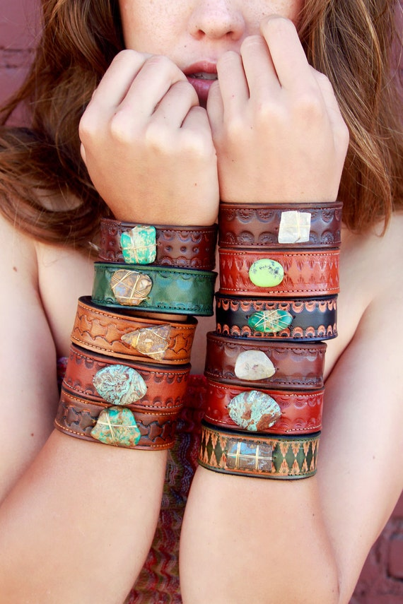 LUX DIVINE Boho Tribal Recycled Leather Boulder Opal Gemstone Cuff