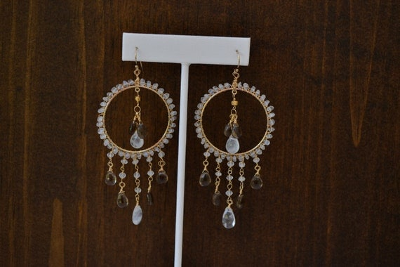 BRIE Dea Bohemian Elegant Gypsy Dangle Chandelier Rainbow Moonstone Gold Earrings
