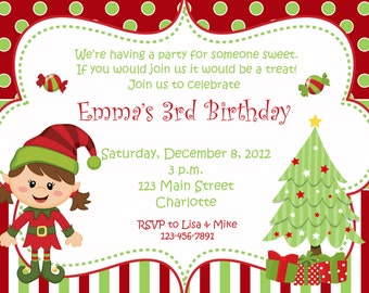 Christmas birthday party invitation  - Christmas birthday invitation -- Elf - You print or I print