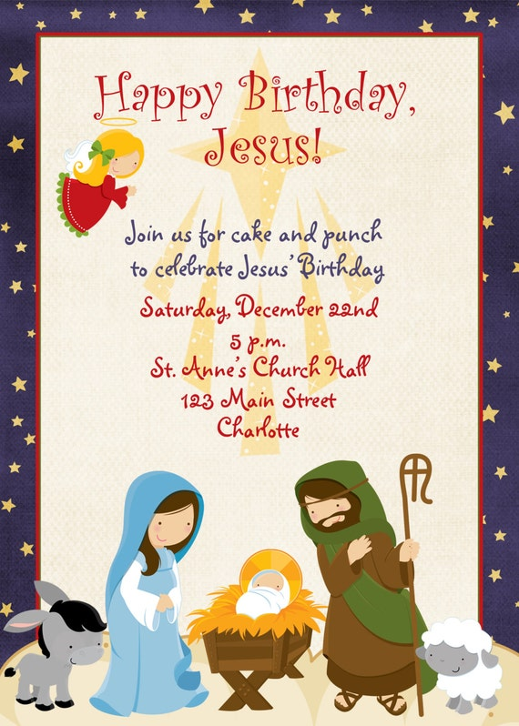 Items similar to Jesus Birthday Christmas party invitation ...