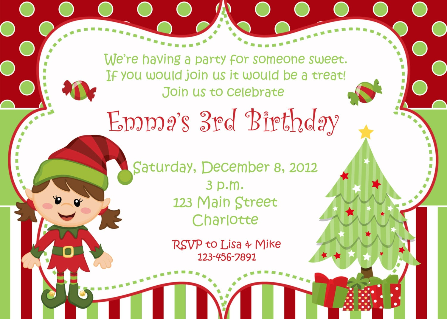 Letter Shelf Christmas Birthday Party Invitation Christmas Birthday