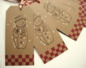 Christmas Snowman Tags Vintage Style Rustic Country