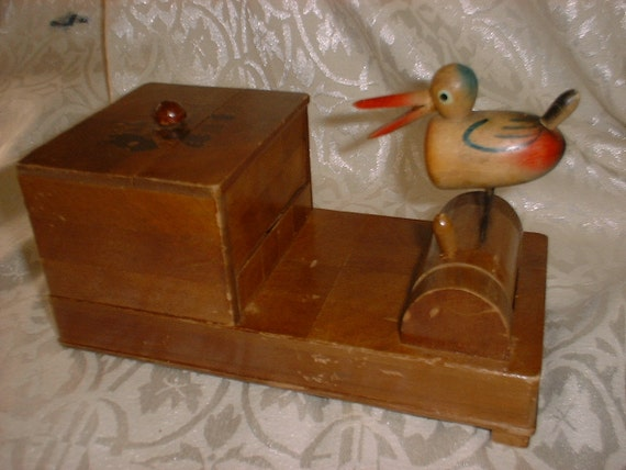 Rare Forties JAPAN Wooden Cigarette Box Dispenser with Bird REDUCED