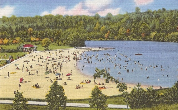 Bathing Beach and Lake Fairy Stone State Park Southeastern Virginia VA Vintage Postcard Bassett VA