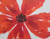 RED POPPY painting-original abstract-bright orange red