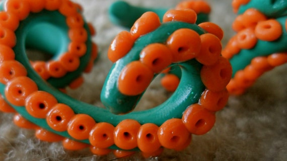 Teal and Orange Size 00 Octopus Tentacle Plugs