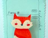 funny fox, wooden magnet for your fridge, hand made in Italy