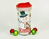 Personalized Christmas Toddler Sippy  With Vinyl Decal Name - Snowman Design  -  Toddler's Sippy