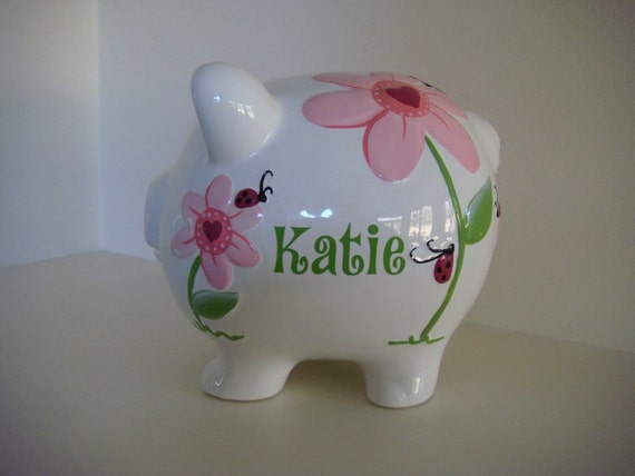 Red Lady Bug and Flowers Piggy Bank Personalized in LIme Green Vinyl Baby Gift Birthday Gift Baby Room