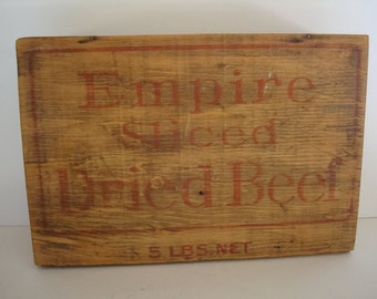 Vintage Swift Empire Dried Beef Wooden Box Rustic Farm House style Shabby Chic Box RARE