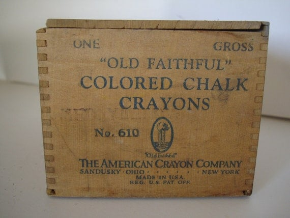 Vintage Crayon Wooden Chalk Box Dovetailed Rustic Farm House style