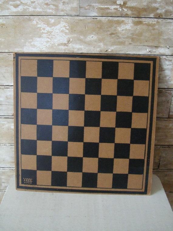 Vintage Retro Checker Board  Black and Tan
