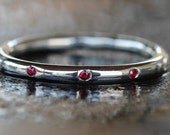 2mm Thick Three Stone Sterling Silver Stacking Ring 925 and Three Red Rubies  Handmade Size: 7