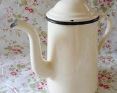 Vintage French Cream Enamelware Coffee Pot