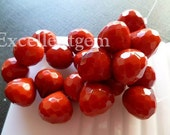 14pcs Faceted teardrop in lighttight Red color onion shape