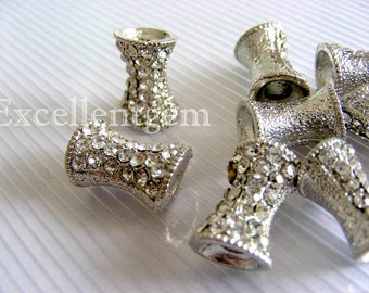 10pcs--White gold plated,Tubular Crystal Rhinestones SPACERS beads