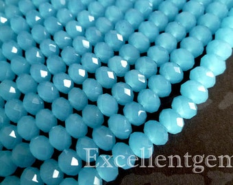 72pcs and up, Faceted crystal roundel in blue color - 8x6mm