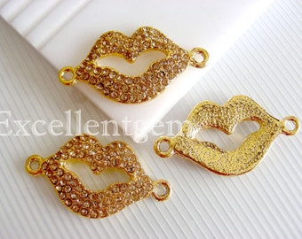 Clearance Sale,-5pcs Gold lips-- Gold Plated with Gold Crystal Rhinestones Pendant, bracelet connection