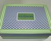 Boy's Preppy Keepsake MemoryBox  Personalized- any color combination