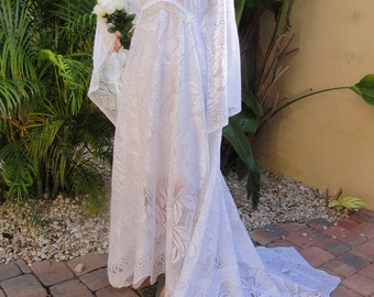 Bohemian Lace Maxi Wedding Dress Vintage Bridal Hollywood Gown-Fairytale Whimsical Reclamed lace long bridal dress in white or ivory