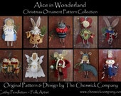 Alice in Wonderland Ornaments E-PATTERN PACKET for all 10 ornaments by cheswickcompany