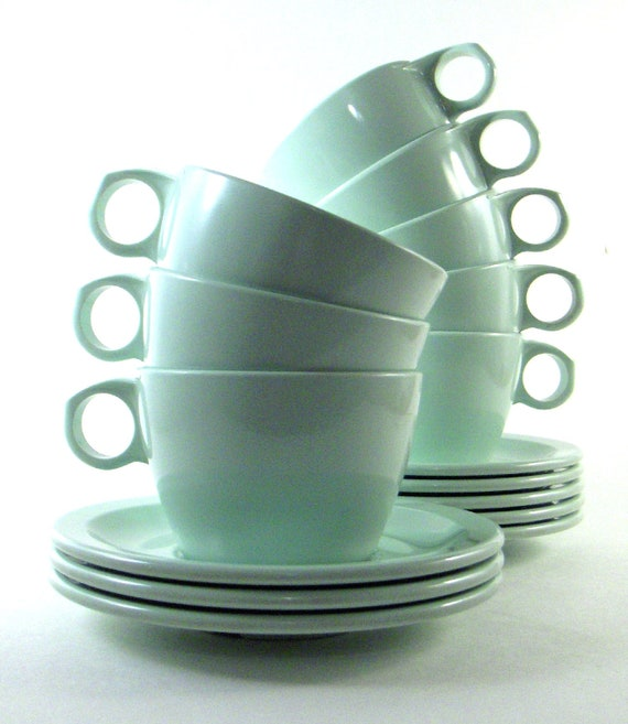 Vintage Texas Ware Mint Green Cups Saucers Melamine Eight Sets
