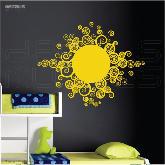 wall decals curly sun vinyl art stickers decor for by