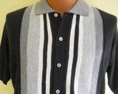 Vintage Men's Sweater Short Sleeve Button Down Black White Stripe Sweater Shirt Rockabilly Size Medium