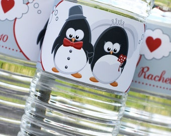 Penguin Wedding - Water Bottle Label PDF