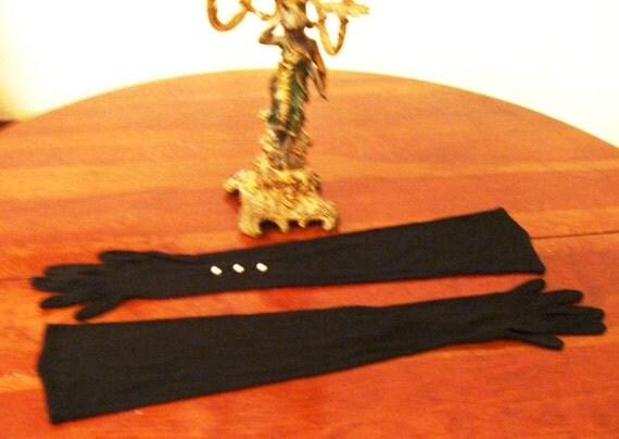 40s Van Raalte Black Rayon Long Formal Gloves