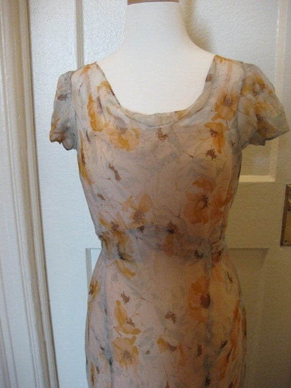 RESERVED FOR SAMAYA 1930s Floral Silk Chiffon Tea Dress