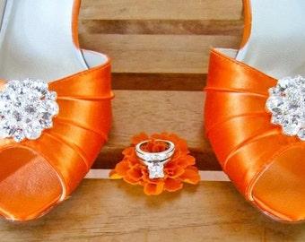 Orange Wedding Shoes 1 3/4 Heel Choose Over 100 Shoe Colors - Choose Heel Height - Orange Peep Toe Crystal Wedding Bridal Shoes By Parisxox