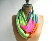 Infinity Scarf For Her / Upcycled T Shirts / Recycled / Colorful / Patchwork / Fall / Cotton / Lightweight / Soft / Gift Under 25 / ohzie