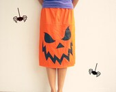 Upcycled T Shirt Skirt / Halloween Orange Black / Scary Pumpkin / Fall / Autumn / Knee Length / Cotton / Soft / Drawstring / by ohzie